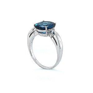 Anel de Ouro 18k - Topázio Azul - Pedra Preciosa
