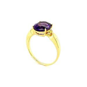 Anel de Ouro 18k - Ametista - Pedra Preciosa - Desejável