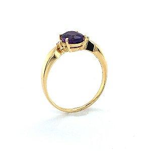 Anel de Ouro 18k - Ametista - Pedra Preciosa - Oval