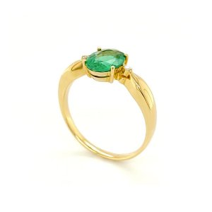 Anel de Ouro 18k - Pedra Preciosa - Esmeralda -  Lindissimo