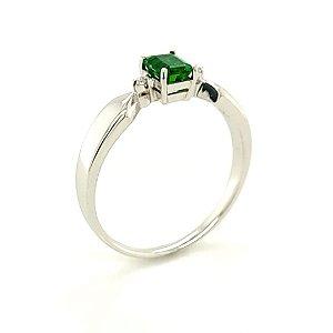 Anel de Ouro 18k - Esmeralda - Pedra Preciosa - Retangular -  Delicado
