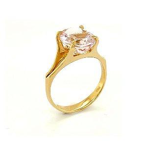 Anel - Ouro 18k - Morganita  - Pedra Preciosa - Oval
