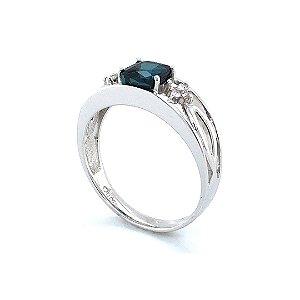 Anel de Ouro 18K - Turmalina Indicolita - Pedra Preciosa