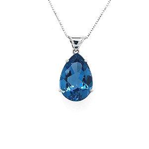 Pingente - Topázio Azul - Ouro 18k - Gota