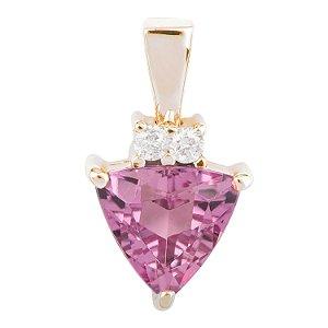 Pingente Ouro 18K - Turmalina - Rosa - Pedra Preciosa - Fabuloso