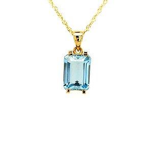 Pingente de Ouro 18K- Pedra Preciosa - Água Marinha
