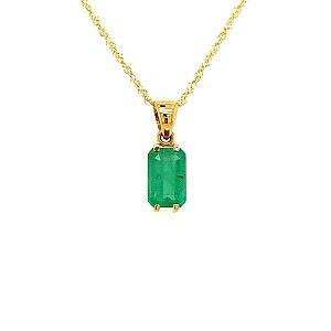Pingente de Ouro 18K - Pedra Preciosa - Esmeralda - Retangular