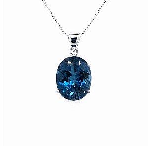 Pingente - Ouro 18k - Topázio Azul -pedra preciosa - Oval