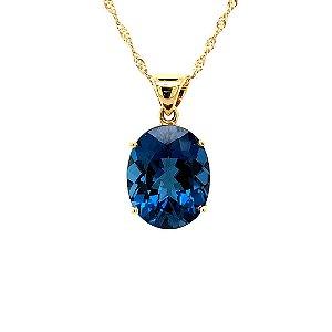 Pingente - Ouro Amarelo - 18k - Topázio Azul -pedra preciosa - Oval