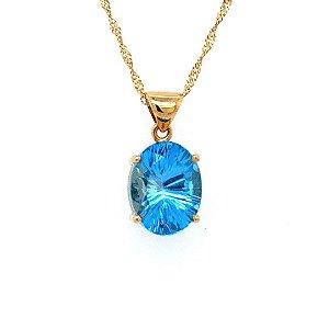 Pingente - Ouro Amarelo - 18k - Topázio Azul - Oval - Delicado