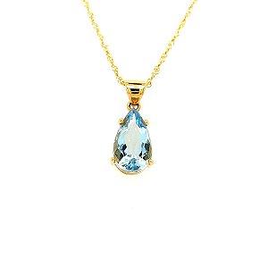 Pingente - Ouro 18k - Água Marinha - Pedra Preciosa - Gota