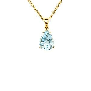 Pingente de Ouro - 18K - Água Marinha - Pedra Preciosa - Simpático