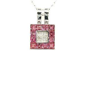 Pingente De Ouro - Branco 18k - Turmalina Rosa - Gemas - Sofisticado