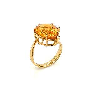 Anel Ouro - Citrino - Pedras Preciosas - Heart