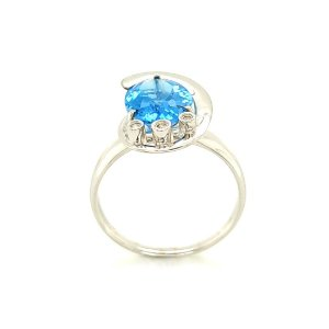Anel Ouro - Topázio Azul - Pedras Preciosas - Espetacular