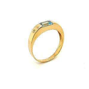 Anel de Ouro  - Topázio Azul - Pedras Preciosas - Retangular - Admirável