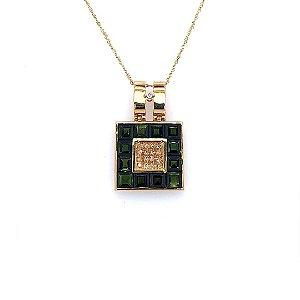 Pingente De Ouro 18k - Turmalina - Gemas - Sofisticado