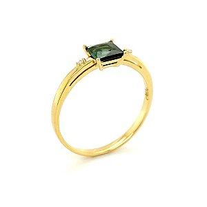 Anel - Ouro 18k - pedra preciosa - Turmalina Verde