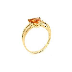 Anel de Ouro 18k - Citrino - Pedra Preciosa - Glamouroso