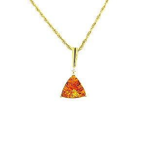 Pingente de Ouro - 18k - Citrino - Pedra Preciosa - Glamouroso