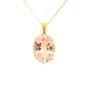 Pingente de Ouro 18k - Morganita - Oval - Exuberante
