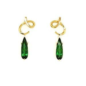 Brinco de Ouro  - Turmalina - Pedra Preciosa - Gota - Lindo