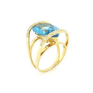 Anel Ouro 18k - Topázio Azul - Pedras Preciosas - Lindissimo