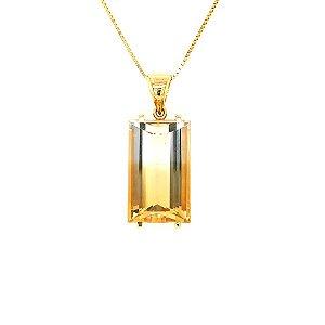 Pingente de Ouro 18k - Citrino Bicolor - Retangular - Esplendida