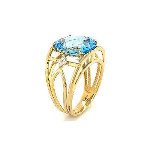 Anel de Ouro  - Topázio Azul - Pedras Preciosas - Luxo