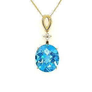 Pingente - Topazio Azul - Ouro 18k