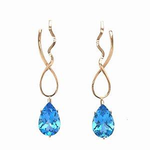 Brinco - Topázio Azul  - Ouro - diamante - explendido