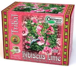 Chá  Misto orgânico -  Hibiscus Lime Mate, Hibiscus e Limão -  15 saquinhos - Tribal