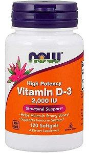 Vitamina D-3 de Alta Potência, 2.000 UI, 120 Softgel