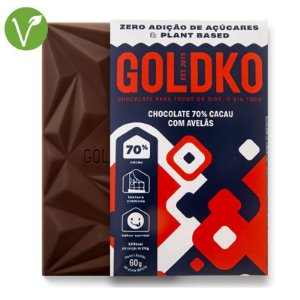 Chocolate 70% cacau com avelãs - Goldko