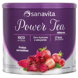 Power Tea Hibiscus, Chá vermelho e morango solúvel