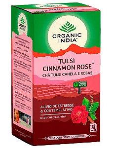 Chá Tulsi Cinnamon Rose  25 Sachês - Organic India