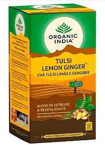 Chá Tulsi Limão e Gengibre - Organic India 25 saches