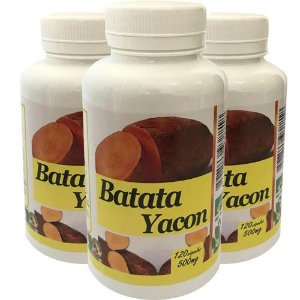 Batata Yacon 500mg 120 Cápsulas (Kit 3 unidades)