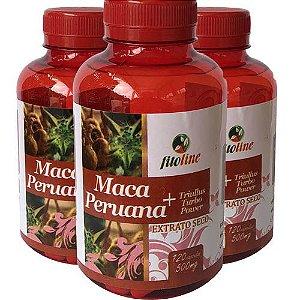 Maca Peruana + Tribulus 500mg 120 Cápsulas (Kit 3 unidades)