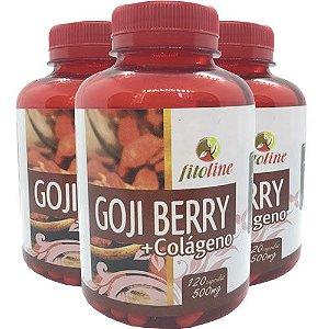 Goji Berry + Colágeno Seca Barriga 500mg 120 Cápsulas (Kit 3 unidades)