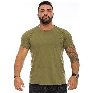 Camiseta Básica Masculina Verde Oliva Militar Lisa 100% Algodão P/M/G/GG/XG