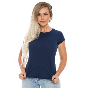Camiseta Básica Baby Look Azul Marinho Feminina Navy Lisa 100% Algodão P/M/G/GG