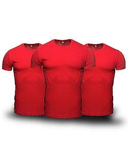 Kit 3 Camisetas Básica Masculina Vermelho Lisa 100% Algodão P/M/G/GG/XG