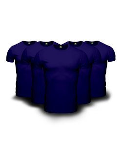 Kit 05 Camisetas Básicas Azul Marinho
