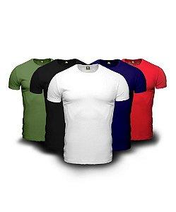 Kit 5 Camisetas Básica Masculina Cores Sortidas Preto Branco Oliva Azul Vermelho Lisa 100% Algodão P/M/G/GG/XG