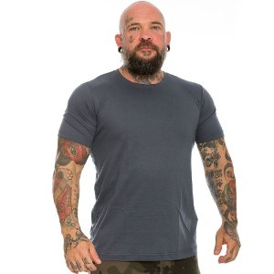Camiseta Básica Masculina Cinza Lisa 100% Algodão P/M/G/GG/XG