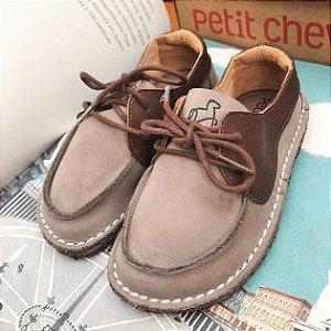 Sapato Infantil Dominó Camurça Gris/ Chocolate