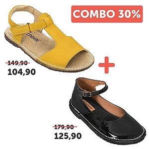 COMBO: Sapato Patinete Verniz Noir 28 + Sandália Carrossel Amarelo 28
