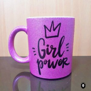 Girl Power  - Caneca Glitter Premium Porcelana