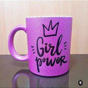 Girl Power  - Caneca Glitter Premium Porcelana